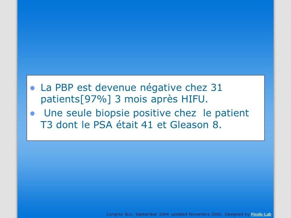 La PBP est devenue négative chez 31 patients[97%] 3 mois après HIFU.